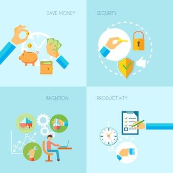 De menselijke handen die sparen de uitvindingsproductiviteit van de geldveiligheid hebben objecten vlak reeks geïsoleerde vectorillustratie houden