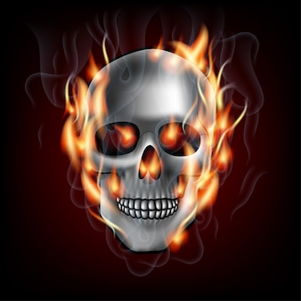 De menselijke schedel in brand