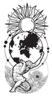 De mensen die van de tatoegeringskunst de tekening van de wereldhand en schets met geïsoleerde de illustratie van de lijnkunst dragen