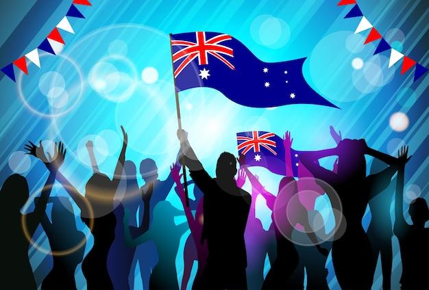 De mensen groeperen de vlaggenmenigte van de silhouetmenigte de dagpartij van australië