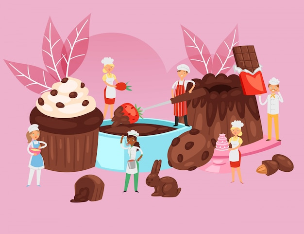 De mensen koken chocolade, de samenstelling van het voedselrecept, professionele bakkerijbanner, het bakken van desserts, beeldverhaalillustratie.