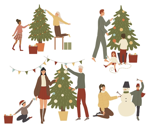 De mensen krijgen een kerstset