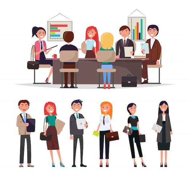 De mensen op commerciële vergadering zitten bij lijst, wisselen informatie uit en bespreken bedrijfskwesties vectorillustratie geïsoleerd
