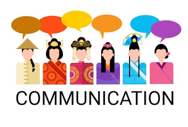 De mensen van azië groeperen het communicatie van de praatbel communicatie