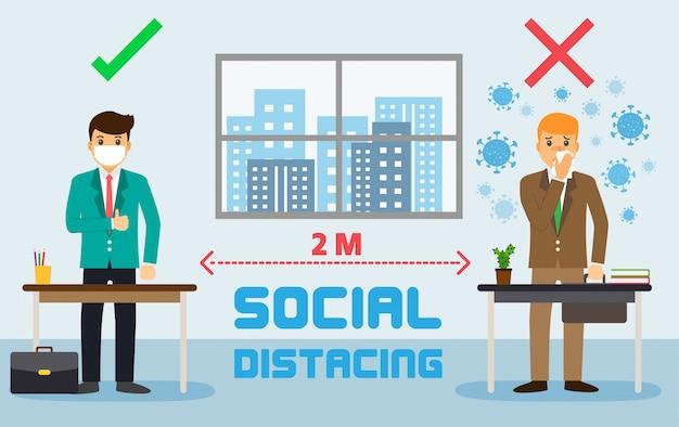 De mensen van het zakenmanbureau handhaven sociale afstand. nieuw normaal bij het werken. covid-19 teken
