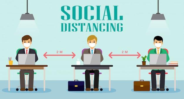 De mensen van het zakenmanbureau handhaven sociale afstand. nieuw normaal bij het werken.