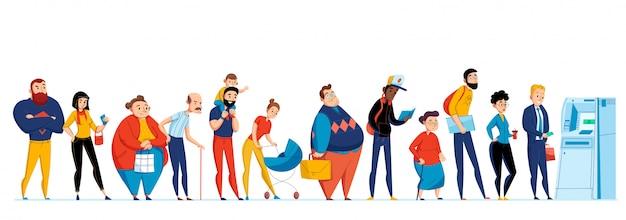 De mensenpictogram van de rij die met verschillende mensen wordt geplaatst die overeenkomstig de illustratie van atm wachten