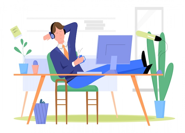 De mensenzakenman heeft onderbreking en ontspant op werkplaats in het concept van de bureauillustratie.