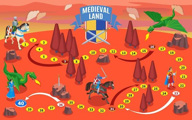 De middeleeuwse isometrische samenstelling van de spelkaart met ridders op paarden en fantasieland met draken en bomen