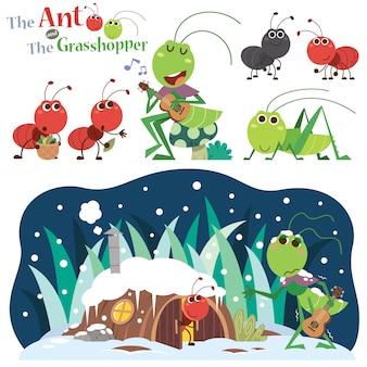 De mier en de sprinkhaan. sprookjesfiguren.