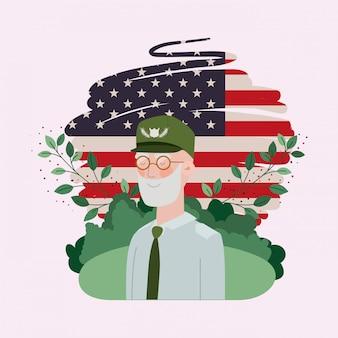De militaire man van de veteraan met de vlag van de vs die op het gebied wordt geschilderd