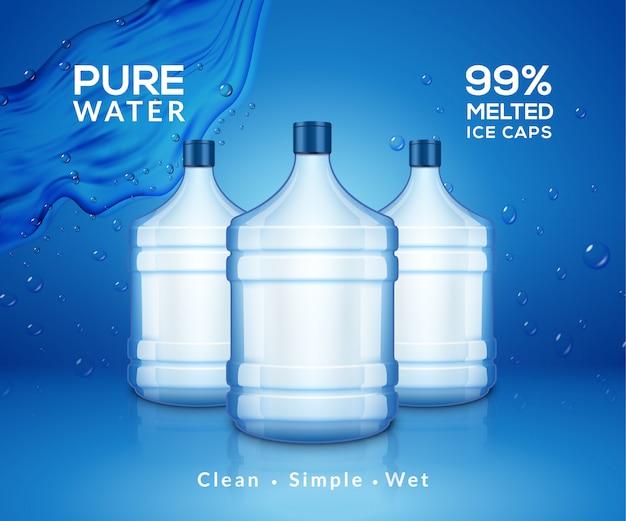 De minerale achtergrond van de waterfles. plastic waterfles reclame drank koeler, spatten helder water product