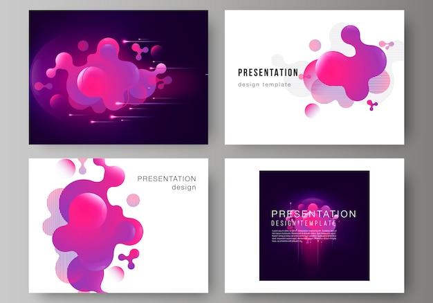De minimalistische abstracte illustratie van de bewerkbare lay-out van de presentatiedia's ontwerpen zakelijke sjablonen.