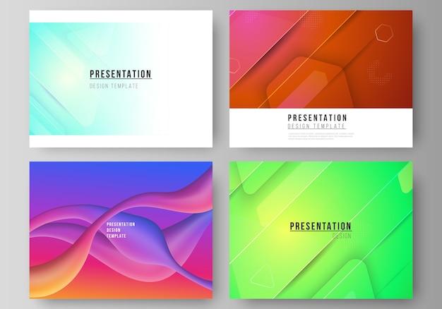 De minimalistische abstracte illustratielay-out van de presentatiedia's ontwerpen zakelijke sjablonen. futuristisch technologieontwerp, kleurrijke achtergronden met de vloeiende samenstelling van gradiëntvormen.