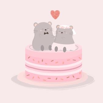 De minnaar van de rat zittend op zoete cake, geïsoleerde cartoon schattige dieren romantische koppels verliefd, valentijnsdag concept, illustratie