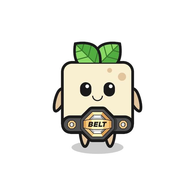 De mma-vechter tofu-mascotte met een riem, schattig stijlontwerp voor t-shirt, sticker, logo-element