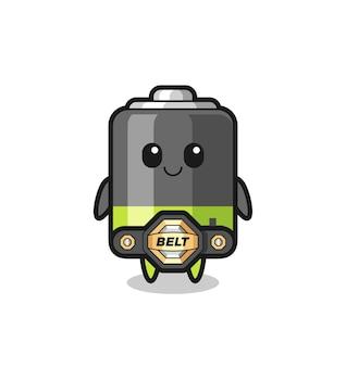 De mma-vechterbatterijmascotte met een riem, schattig stijlontwerp voor t-shirt, sticker, logo-element