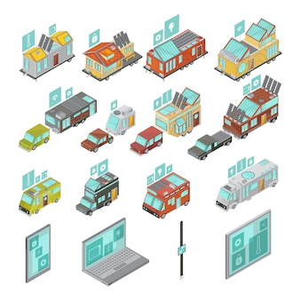 De mobiele huizen isometrische reeks met inbegrip van elektronische apparatenbestelwagens en huizenaanhangwagens met technologieënpictogrammen isoleerde vectorillustratie
