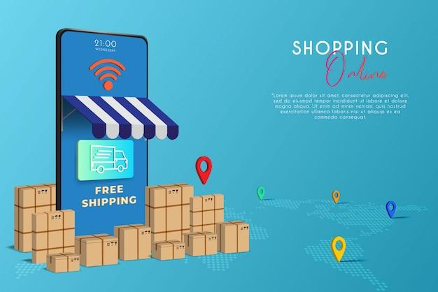 De mobiele telefoon vertegenwoordigt de voorkant van de winkel. online winkelen op website of mobiel toepassingsconcept