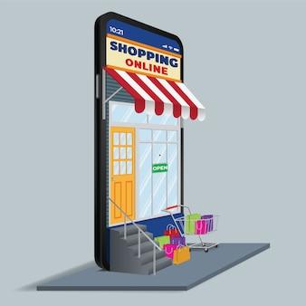 De mobiele telefoon vertegenwoordigt de voorkant van de winkel. online winkelen op website of mobiele applicatieconceptmarketing en digitale marketing