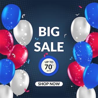 De moderne grote vectorillustratie van de verkoopbanner met ballon voor sociale media