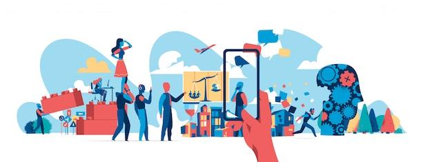 De moderne maatschappij in zaken en technologie