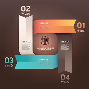 De moderne pijlcirkel verhoogt opties. werkstroom lay-out, diagram, aantal opties, webdesign, infographics.