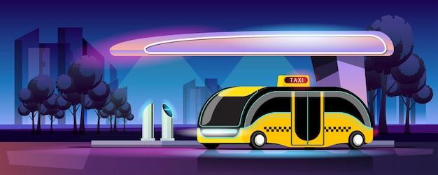 De moderne stijl van een elektrische taxi laadt op in de krachtcentrale van de garage