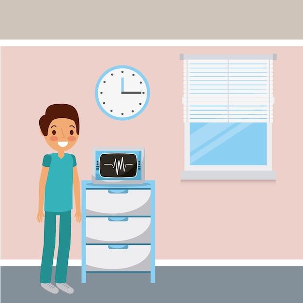 De monitorklok en venster van de artsen medische ekg
