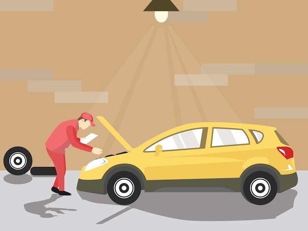 De monteur controleert de auto in de werkplaats
