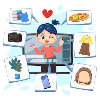 De mooie blogger-vrouw gebruikt een desktopcomputer om online thuis te leren