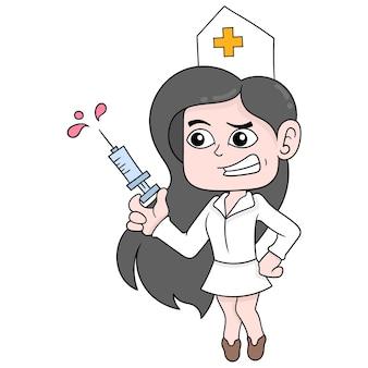 De mooie en sexy verpleegster brengt injectie voor vaccin, vectorillustratieart. doodle pictogram afbeelding kawaii.