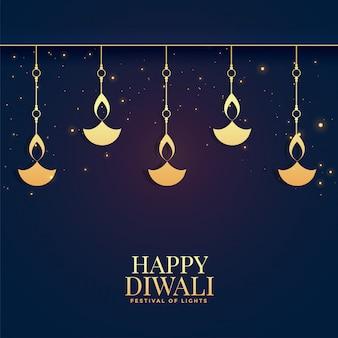 De mooie gelukkige achtergrond van diwali gouden diya