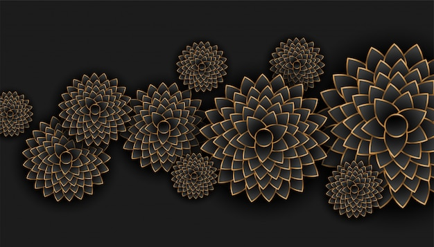 De mooie gouden en zwarte achtergrond van de bloemendecoratie
