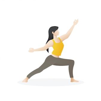 De mooie jonge vrouw stelt binnen van yoga