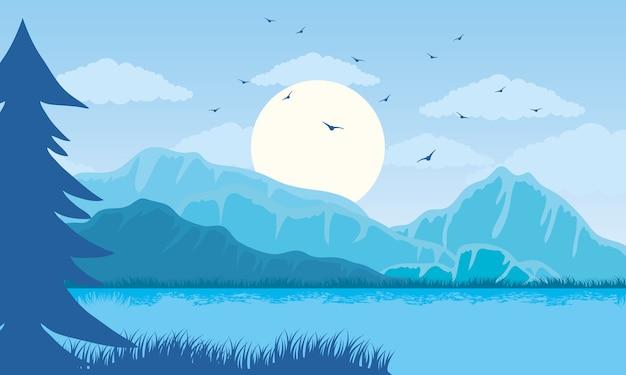De mooie scène van de landschaps blauwe kleur met meerillustratie