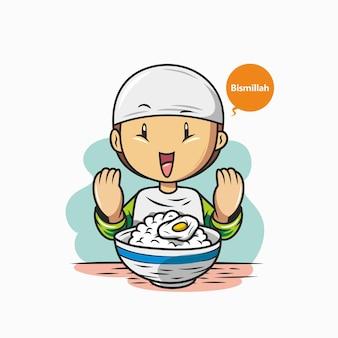 De moslimjongen bidt alvorens te eten