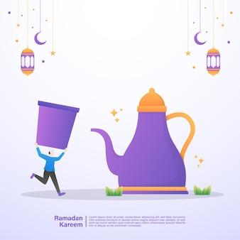 De moslimman is blij als hij het vasten van ramadan verbreekt. illustratie concept van ramadan kareem