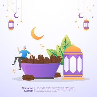 De moslimman is gelukkig en geniet van de iftarmaaltijd van ramadan. illustratie concept van ramadan kareem