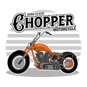 De motorfiets van de chopper, emplem, t-shirt, sticker