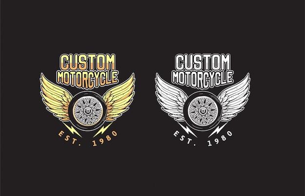 De motorfietsvleugels van de douane en de illustratie van het wielontwerp