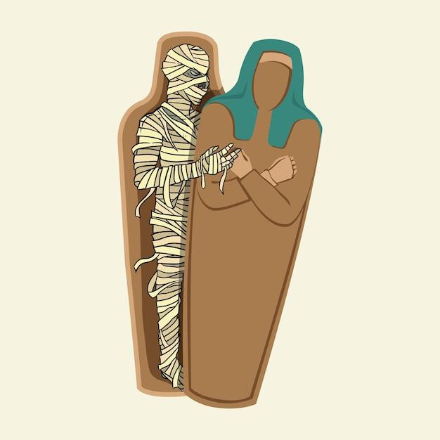 De mummie die uit de sarcofaag kruipt. hand getekende vectorillustratie geïsoleerd op de achtergrond.