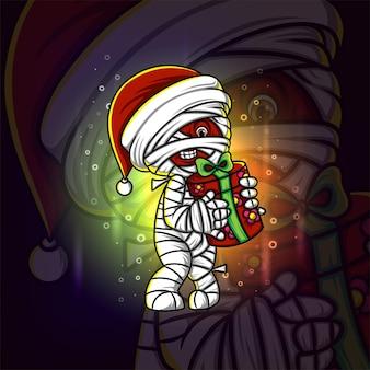 De mummie met het geschenk esport-mascotteontwerp van illustratie