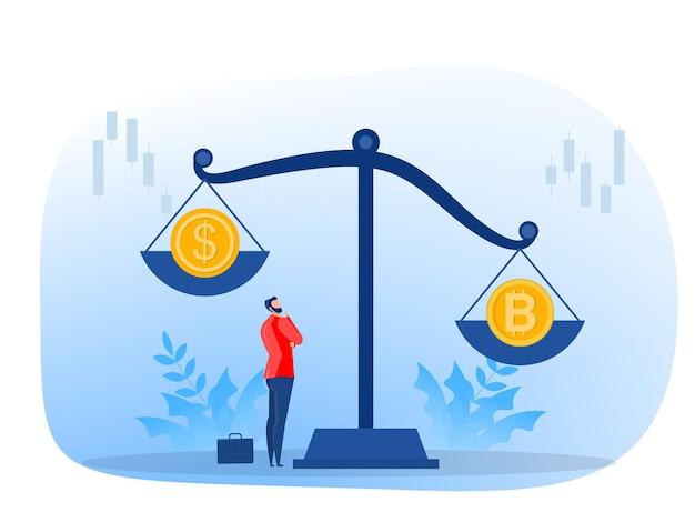 De munt met het bitcoin-symbool weegt zwaarder dan de cryptocurrency van de dollarvaluta, wisselkoers. een vectorillustratie in vlakke stijl.