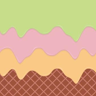 De naadloze achtergrond van de wafeltje en de druipende room herhaalbare vectorkunst