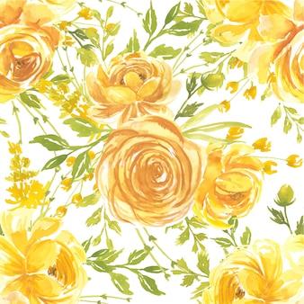 De naadloze bloem van de patroonwaterverf nam geel toe