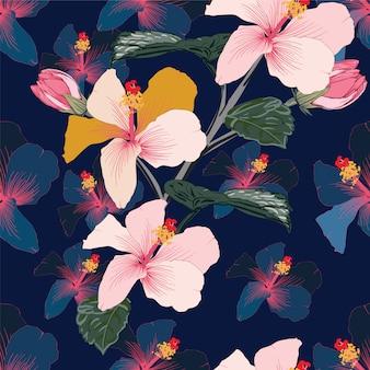 De naadloze bloemen hibiscusbloemen van de patroon roze pastelkleur.
