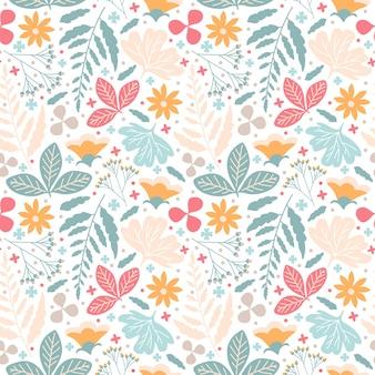 De naadloze bloesem die van de patroonbloem met aardbladeren en gebladerte bloeien in wit worden geïsoleerd