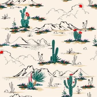 De naadloze cactus van de patroon vectorzomer op woestijn