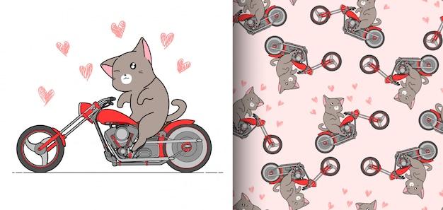 De naadloze de ruiterkat van patroonkawaii berijdt snel rode motorfiets